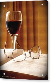 Acrylic Print featuring the photograph A Good Book And A Glass Of Wine by Lucinda Walter