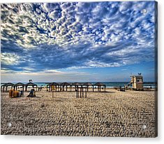 Acrylic Print featuring the photograph a good morning from Jerusalem beach  by Ron Shoshani