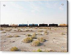 A Goods Train On The Train Track Acrylic Print