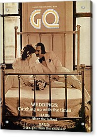 A Gq Cover Of A Bridal Couple Acrylic Print by Arthur Elgort