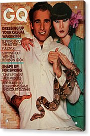 A Gq Cover Of A Couple With A Snake Acrylic Print by Albert Watson