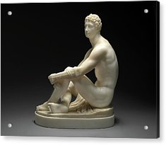 A Greek Boxer Waiting His Turn Signed By Chisel On Base Acrylic Print by Litz Collection
