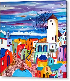 A Greek Mill And The Colors Of Oia Santorini  Acrylic Print by Roberto Gagliardi