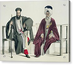 A Greek Priest And A Turk, Engraved Acrylic Print by Louis Dupre