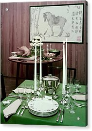 A Green Table Acrylic Print by Wiliam Grigsby