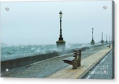 A Grey Wet Day By The Sea Acrylic Print by Katy Mei