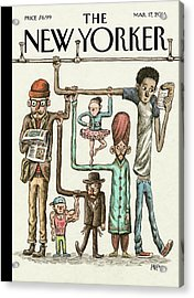 A Group Of Commuters Rest On Eachother Acrylic Print by Ricardo Liniers