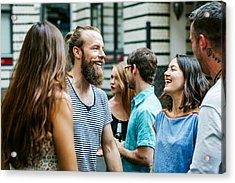 A Group Of Friends Meeting Together At Barbecue Acrylic Print by Hinterhaus Productions