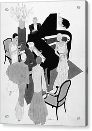 A Group Of People Around A Piano At A Party Acrylic Print