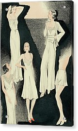 A Group Of Women Wearing White Designer Dresses Acrylic Print by Alix Zeilinger