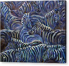Acrylic Print featuring the painting A Group Of Zebras by Xueling Zou