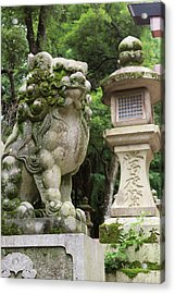 A Guardian Stone Lion Traditional Stone Acrylic Print by Paul Dymond