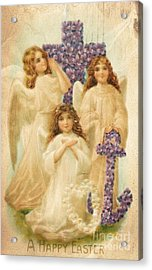 A Happy Easter 1908 German Postcard Acrylic Print