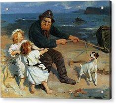 A Harbor Scene Acrylic Print by Arthur John Elsley