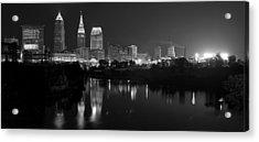 A Hazy Cleveland Night At Progressive Field Acrylic Print