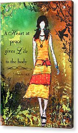 A Heart At Peace Inspirational Christian Artwork With Bible Verse Acrylic Print