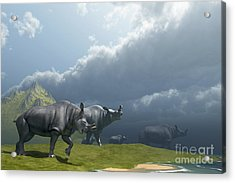 A Herd Of Brontotherium Dinosaurs Come Acrylic Print by Corey Ford