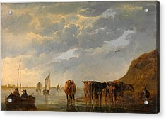 A Herdsman With Five Cows By A River Acrylic Print