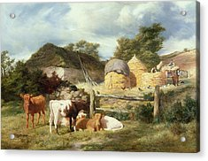 A Highland Croft, 1873 Acrylic Print by Peter Graham