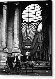 A Horse And Cart By The Galleria Umberto Acrylic Print by Robert Randall