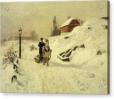 A Horse Drawn Sleigh In A Winter Landscape Acrylic Print by Fritz Thaulow