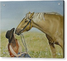 A Horses Gentle Touch Acrylic Print by Kelly Mills
