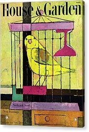 A House And Garden Cover Of A Bird In A Cage Acrylic Print
