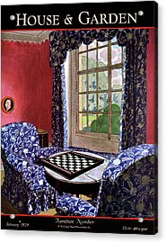 A House And Garden Cover Of A Country Living Room Acrylic Print