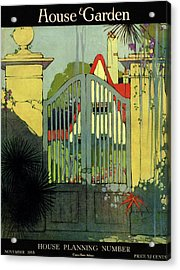 A House And Garden Cover Of A Gate Acrylic Print by H. George Brandt