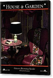 A House And Garden Cover Of A Lamp By An Armchair Acrylic Print