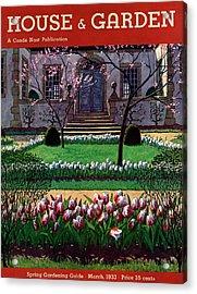 A House And Garden Cover Of A Tulip Garden Acrylic Print