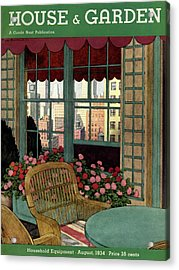A House And Garden Cover Of A Wicker Chair Acrylic Print by Pierre Brissaud