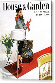 A House And Garden Cover Of A Woman With A Lamp Acrylic Print by Horst P. Horst
