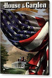 A House And Garden Cover Of An American Flag Acrylic Print