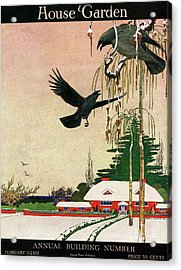 A House And Garden Cover Of Crows By A House Acrylic Print
