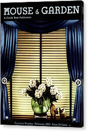 A House And Garden Cover Of Flowers By A Window Acrylic Print