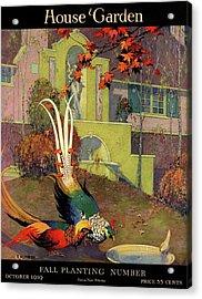 A House And Garden Cover Of Peacocks Acrylic Print