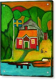 Acrylic Print featuring the painting A House In Sweden by Zeke Nord