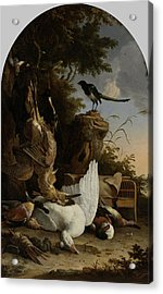 A Hunter's Bag Near A Tree Stump With A Magpie Acrylic Print by Litz Collection