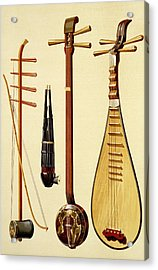A Huqin And Bow, A Sheng, A Sanxian Acrylic Print by Alfred James Hipkins