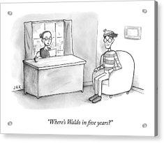 A Job Interviewer Asks Waldo Acrylic Print by Jason Adam Katzenstein