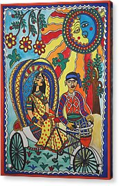 A Journey By Rickshaw Acrylic Print by Shakhenabat Kasana
