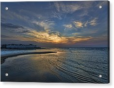 a joyful sunset at Tel Aviv port Acrylic Print by Ron Shoshani