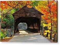A Kancamagus Gem - Albany Covered Bridge Nh Acrylic Print by Thomas Schoeller