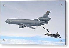 A Kc-10 Extender Refuels An F-22 Raptor Acrylic Print