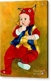 Acrylic Print featuring the painting A Kid Wearing Two Cultural Traditions by Jingfen Hwu