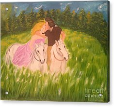 Acrylic Print featuring the painting A Kiss - On Horseback by Brindha Naveen