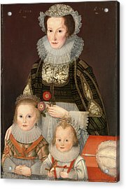 A Lady And Her Two Children Dated In Gold Paint Acrylic Print by Litz Collection