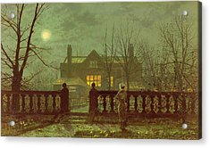 A Lady In A Garden By Moonlight Acrylic Print by John Atkinson Grimshaw