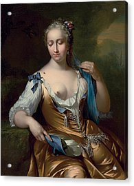 A Lady In A Landscape With A Fly On Her Shoulder Acrylic Print by Frans van der Mijn